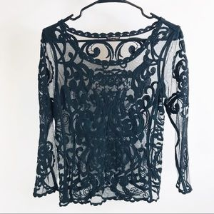 Express Black embroidered lace top xs